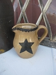 Primitive Stoneware Pottery Star Pitcher