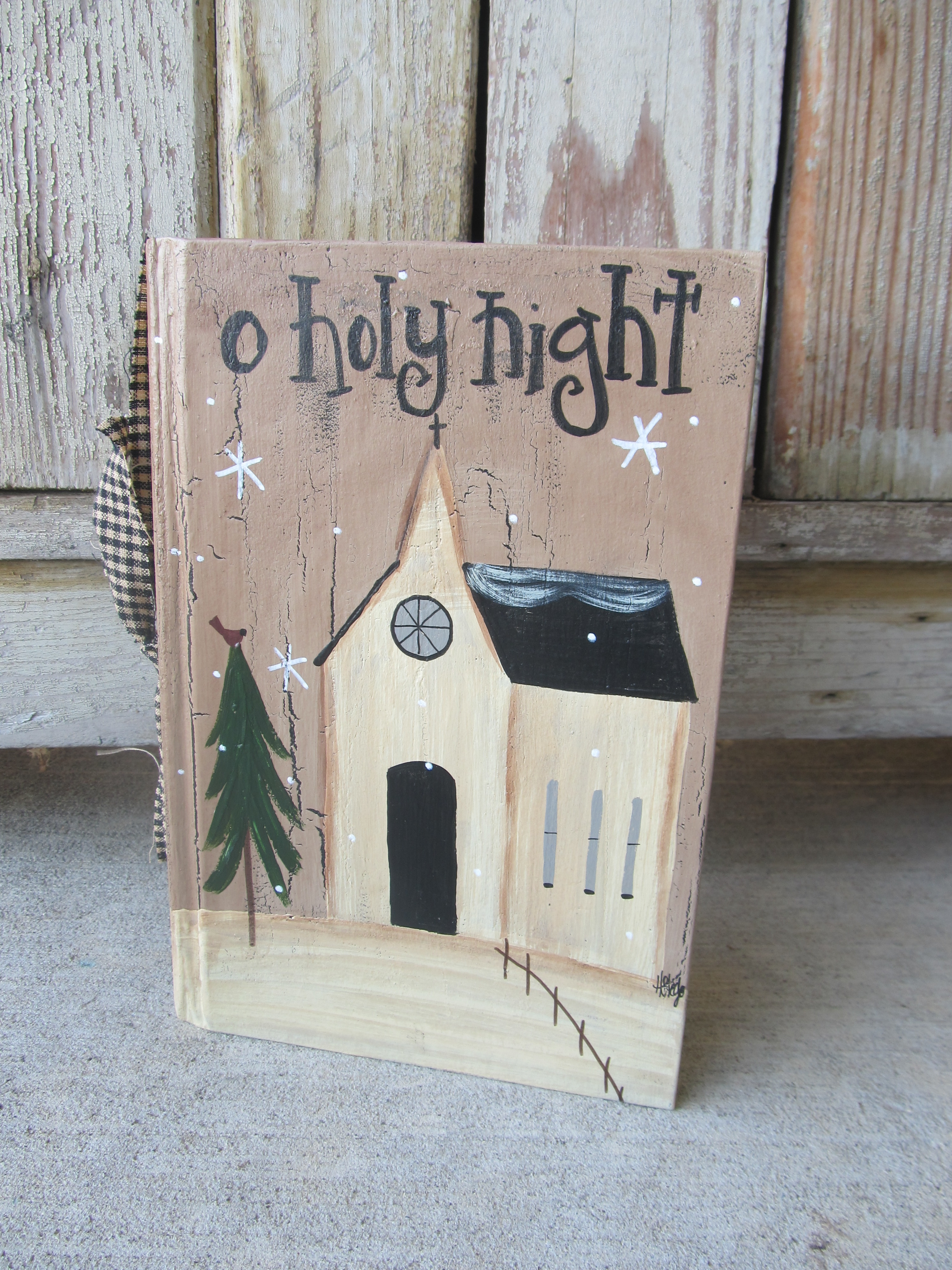 Primitive Winter Saltbox Country Church Hand Painted