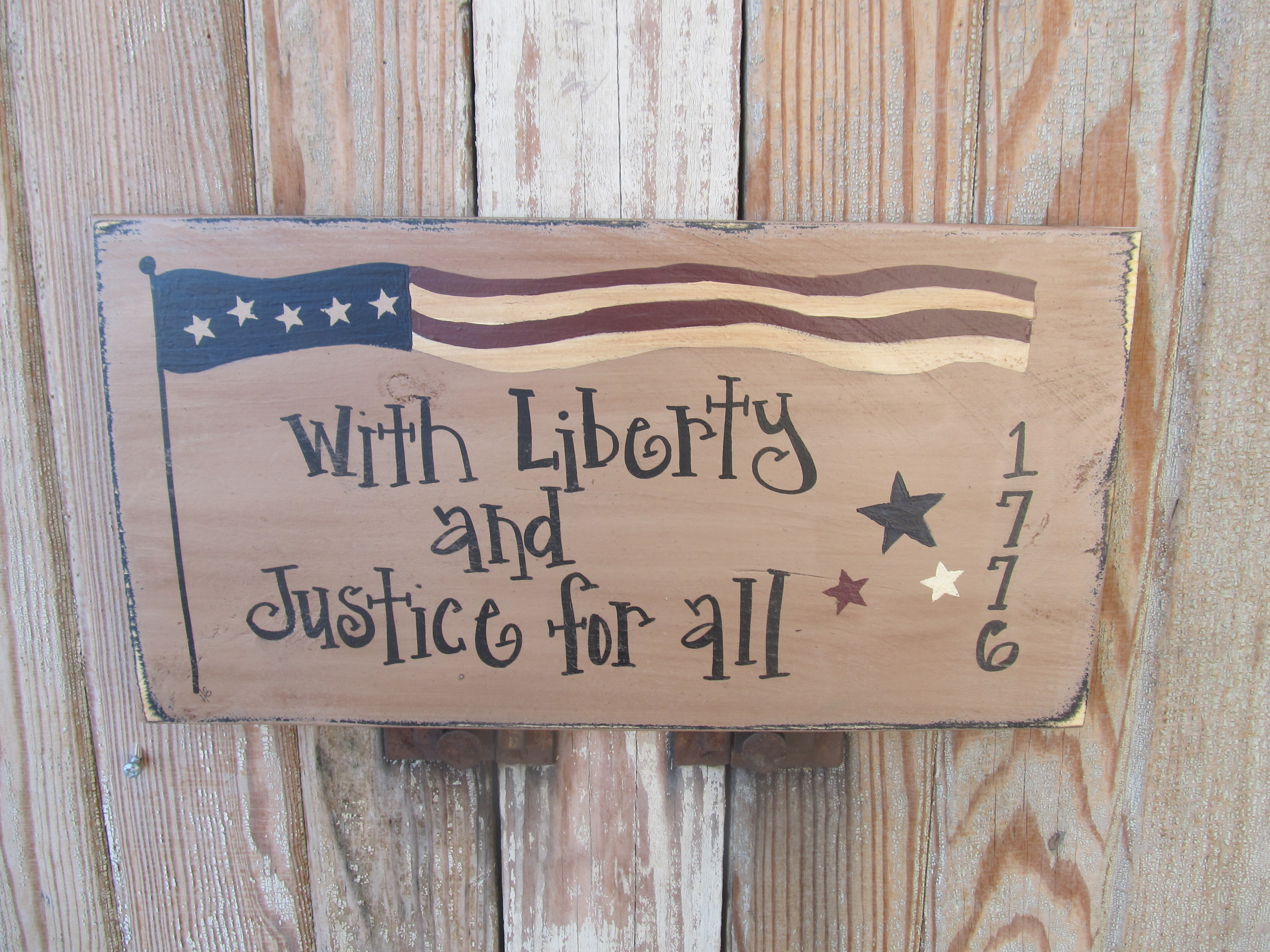 Primitive Americana Patriotic With Liberty And Justice For