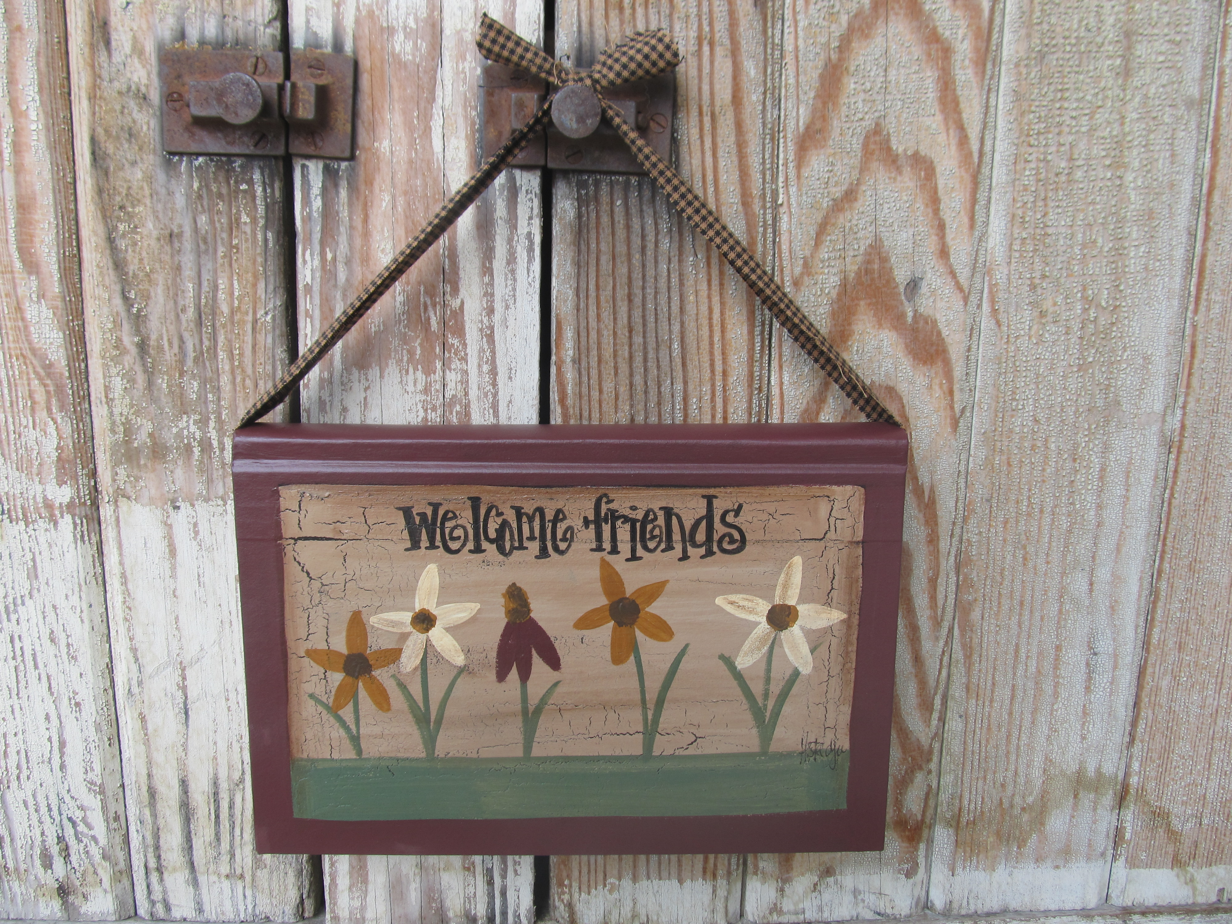 Primitive Country Cottage Chic Wild Flower Hanging Hand