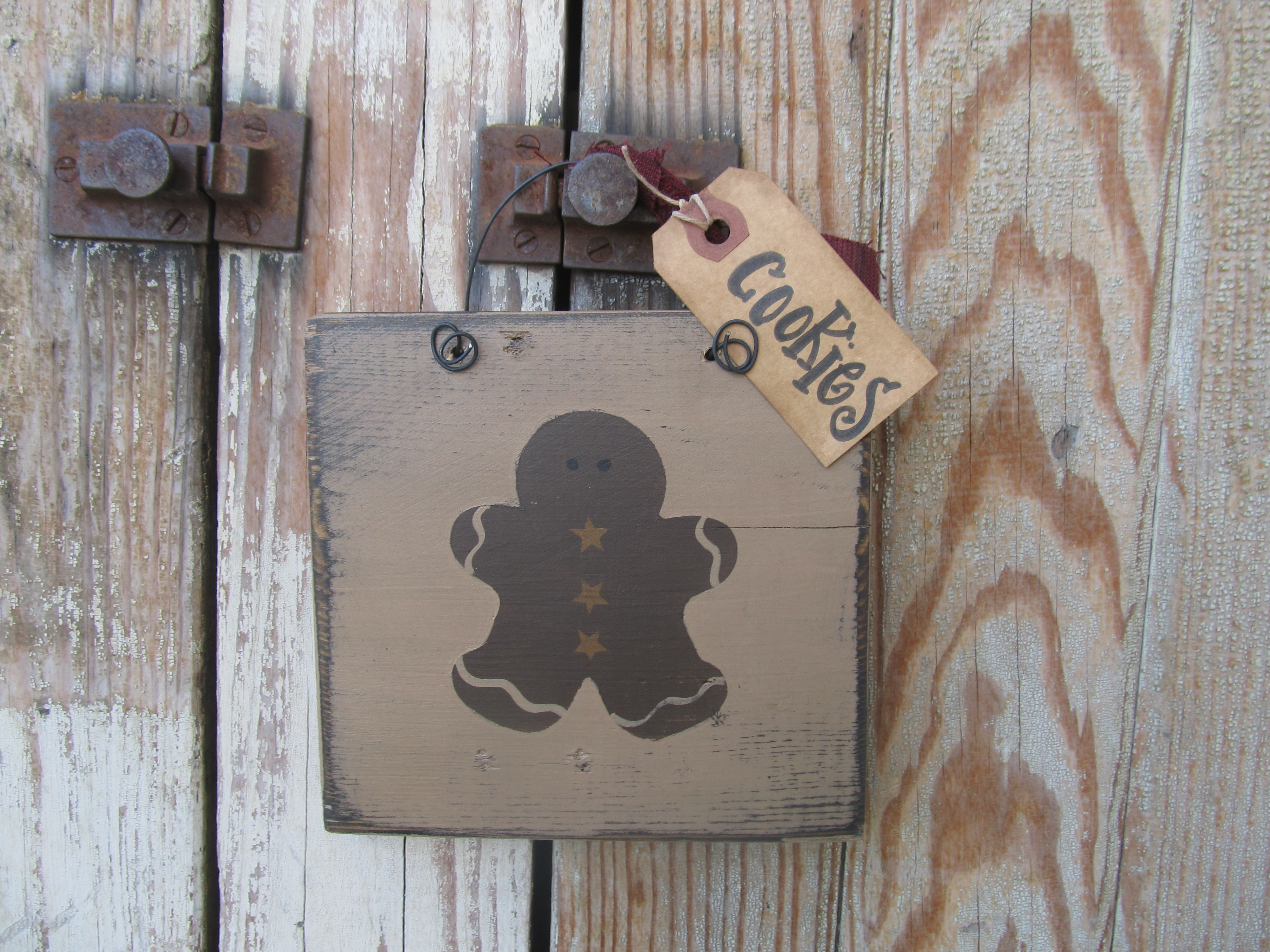 Primitive Country Gingerbread Hand Painted Wooden Sign Plaque