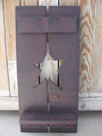 Primitive Country Hand Made Wooden Star Shutter With Shelf