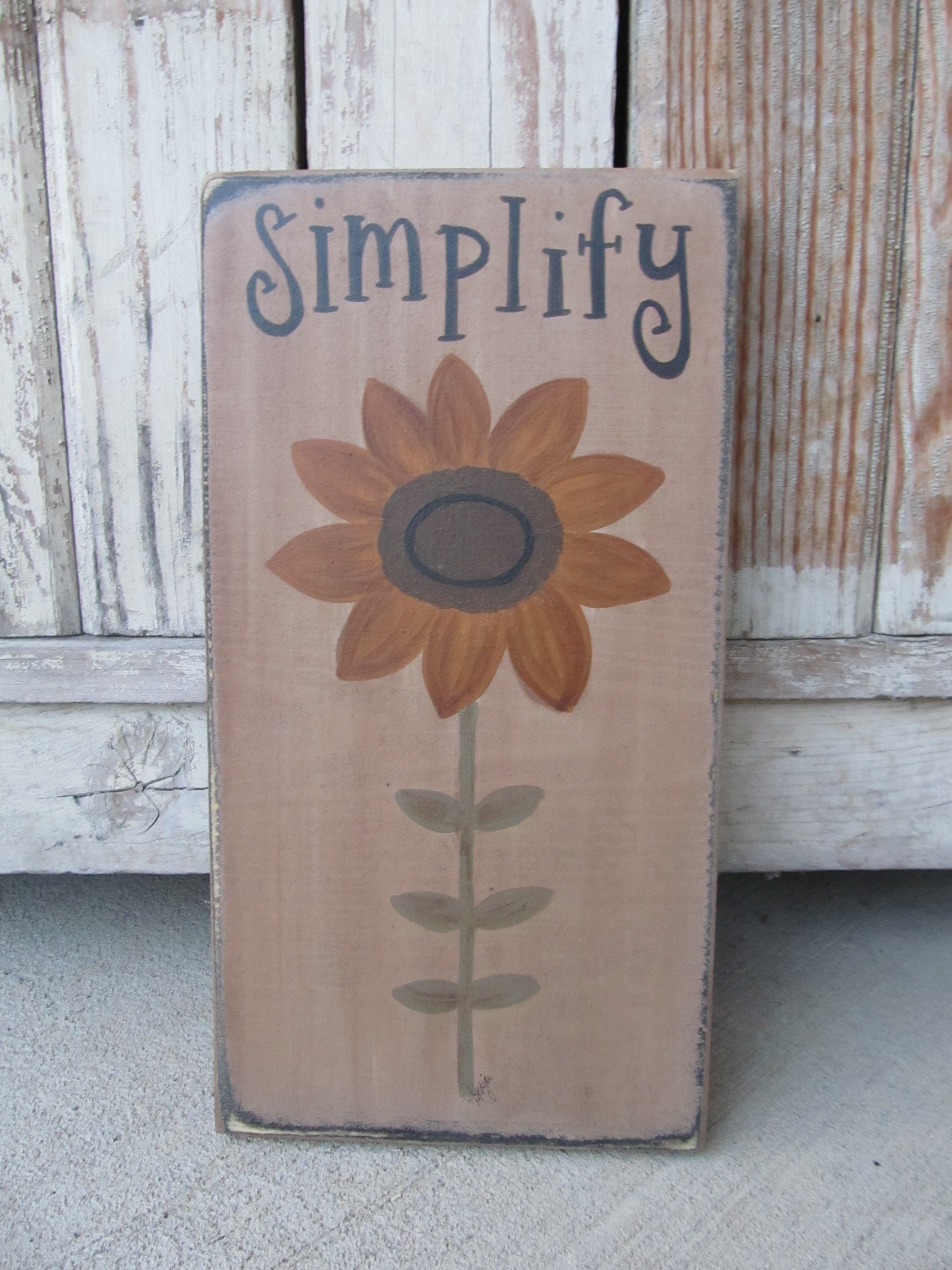 Primitive Sunflower on Stem Summer Fall Hand Painted