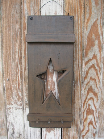 Primitive Hand Made Wooden Star Panel With Antique Square
