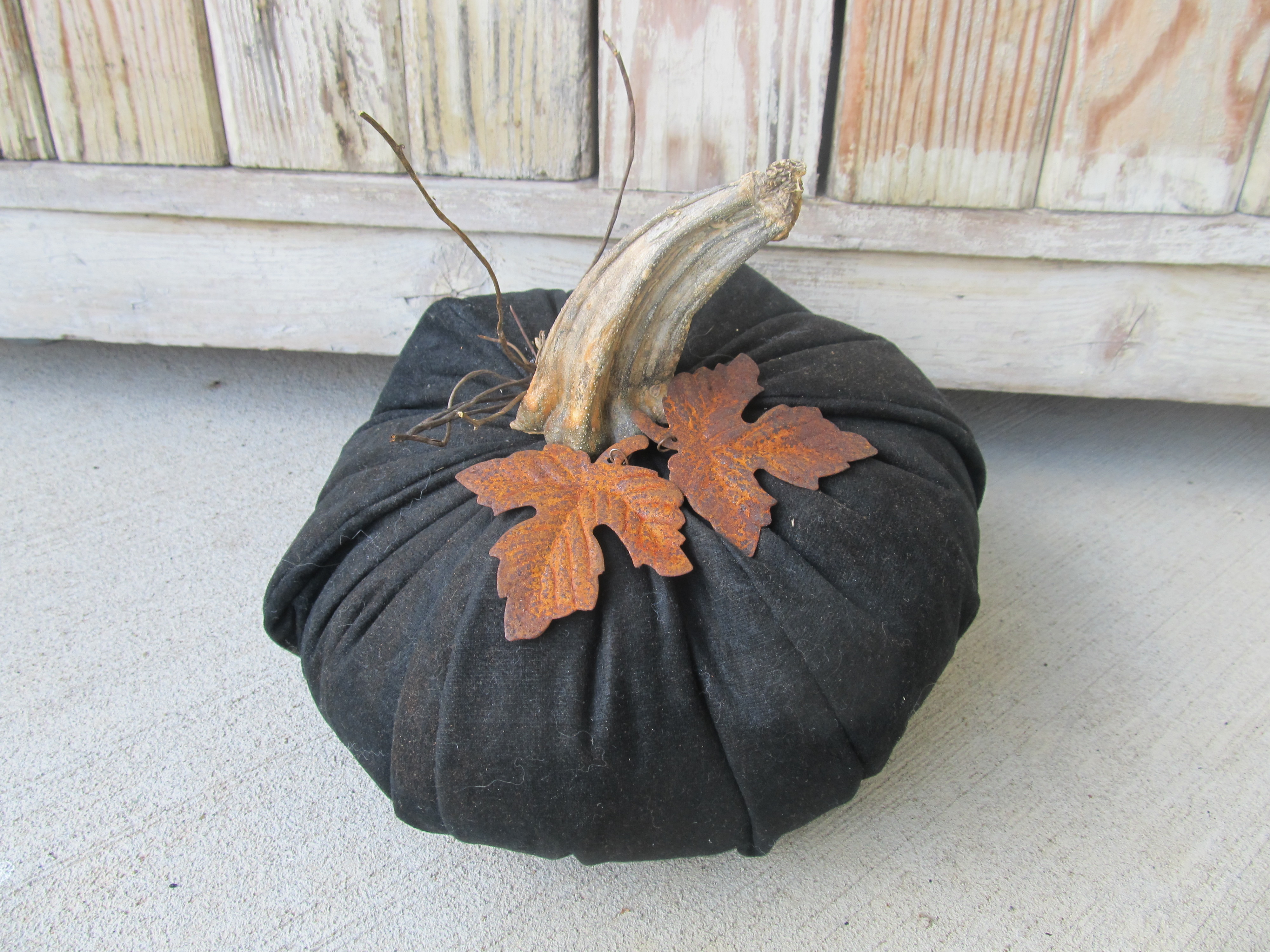 Primitive hand made large black pumpkin with real dried for Pumpkin stems for crafts