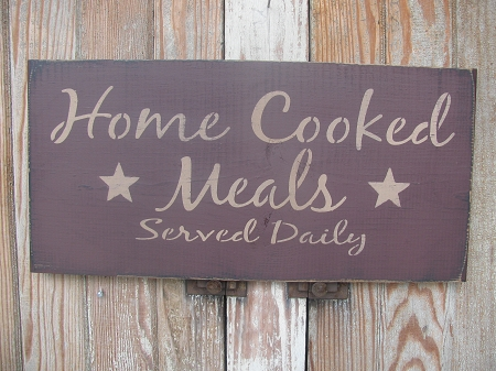 primitive home cooked meals hand stenciled kitchen wooden sign