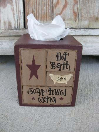 Primitive Hot Bath Bathroom Sampler Tissue Box Cover