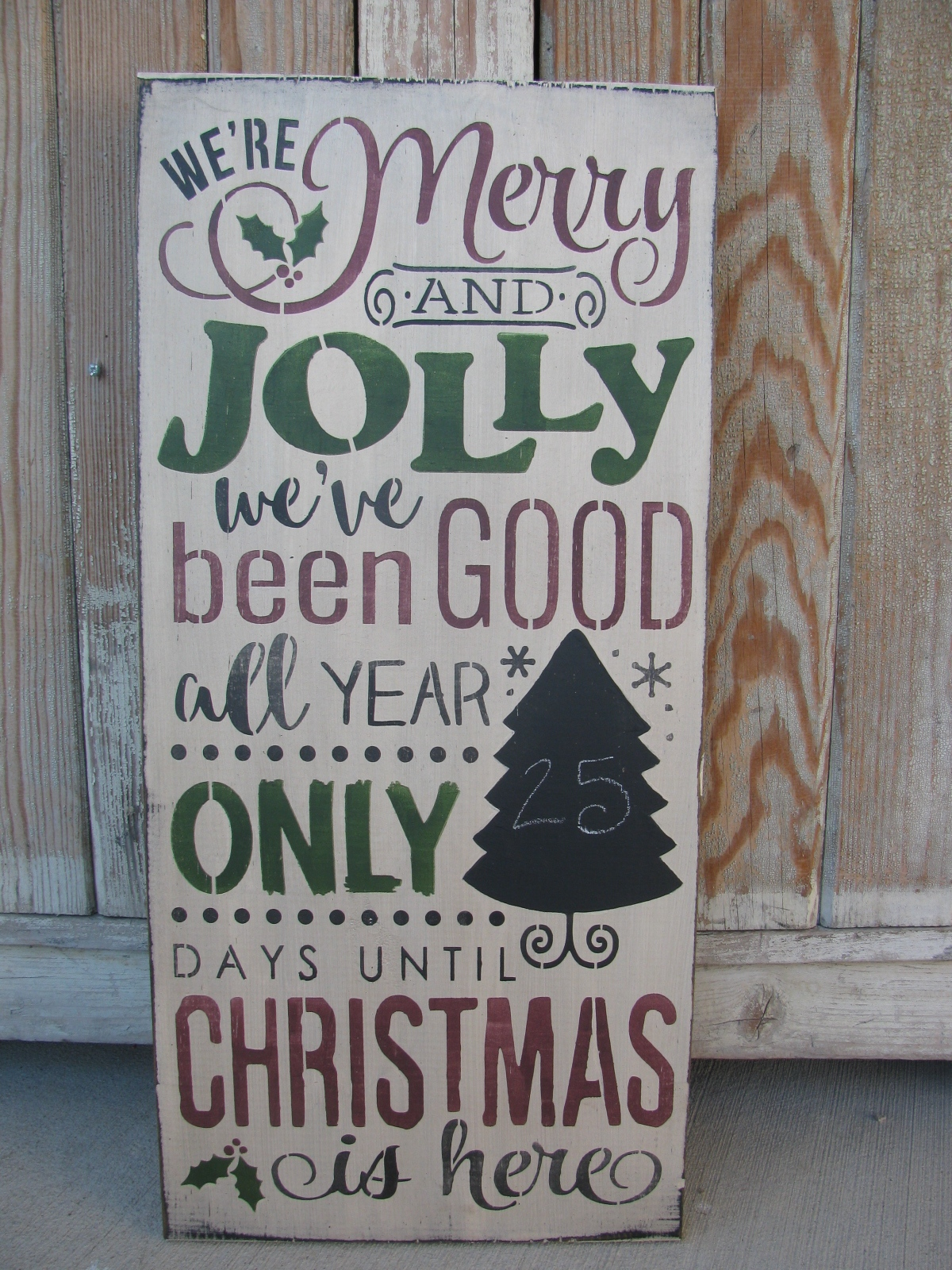 Primitive Merry And Jolly Christmas Countdown Chalkboard