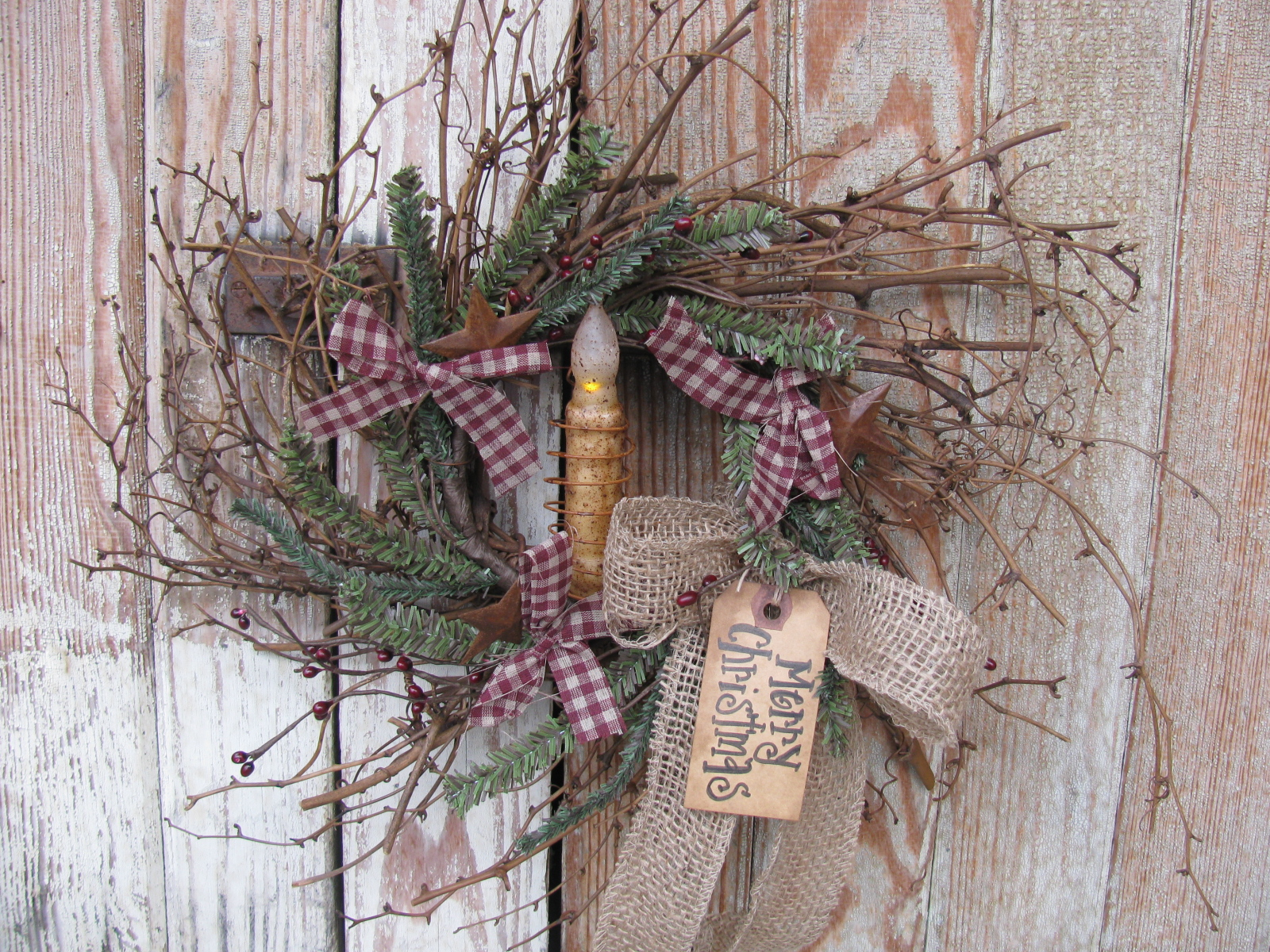 Primitive Christmas Winter Twiggy German Pine Berry And