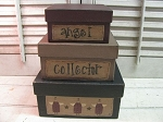 Primitive Country Angel Square Stacking Boxes set of 3