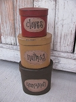 Primitive Baking Spices Stacking Boxes Set of 3 Oval