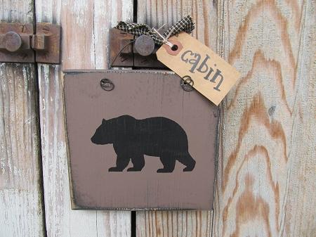 Primitive Rustic Northwoods Lodge Black Bear Hand Painted Sign Plaque