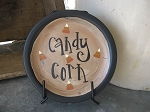 Primitive Hand Painted Fall Halloween Candy Corn Mini Word Plate