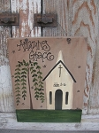 Primitive Saltbox Country Church Sign
