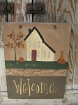 Primitive Autumn Fall Saltbox House Personalized Wooden Sign