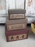 Primitive Country Gingerbread Square Stacking Boxes