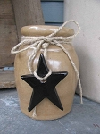 Primitive Stoneware Crock with Hanging Black Star