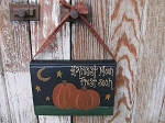 Primitive Fall Autumn Harvest Moon Frost Soon Pumpkin Hanging Vintage Book