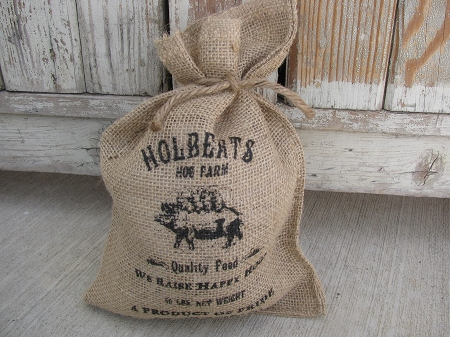 Primitive Farm Fresh Burlap Holberts Hog Farm Burlap Feed Sack