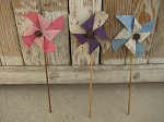 Primitive Hand Made Pinwheels in Pastel Colors Set of 3