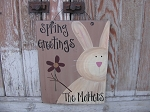 Primitive Personalized Country Bunny Hand Painted Wooden Sign