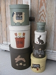 Primitive Spring Thyme Set of 7 Hand Painted Stack Boxes
