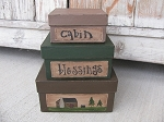 Primitive Log Cabin Northwoods Lodge Square Stack Box Set of 3 Light or No Light
