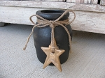 Primitive Black Stoneware Jar with Tan Hanging Stoneware Star on Jute