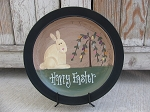 Primitive Bunny with Willow Egg Tree Hand Painted Plate