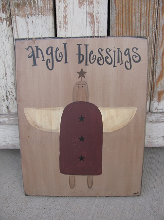 Primitive Country Angel Vintage Hand Painted Wooden Sign