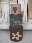 Primitive Daisy and Heart Hand Painted Oval Stack Boxes Set of 3