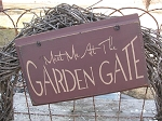 Primitive Meet Me at The Garden Gate Hand Painted Wooden Sign