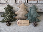 Primitive Northwoods Rustic Country Pine Tree Bowl Fillers with Pinecones Set of 3