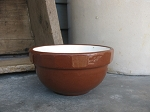 Antique Primitive Old Brown with Cream Interior Stoneware 5 Inch Mixing Bowl