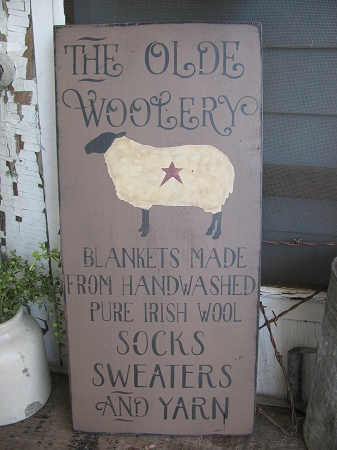 Primitive Olde Woolery Sheep Hand Stenciled Wooden Sign