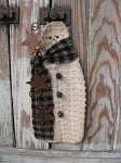 Primitive Chenille Hanging Snowman with Rusty Stars