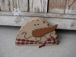 Primitive Country Half Head Wooden Snowman with Snowflake