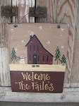 Primitive Hand Painted Burgundy Winter Saltbox House Personalized Wooden Sign