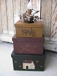Primitive Saltbox and Stars Square Stack Box Light
