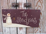 Primitive Personalized Snowman Meadow Wooden Sign