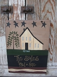 Primitive Patriotic Americana Personalized Saltbox House Sign with Stars