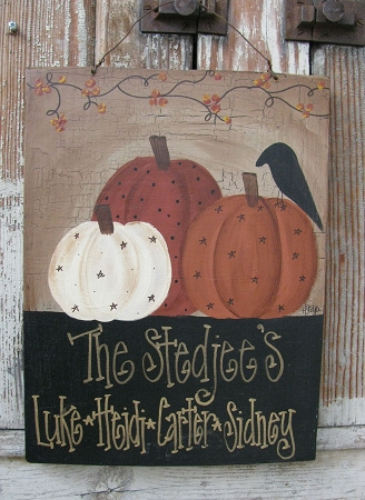 Primitive Personalized Autumn Fall Pumpkins With