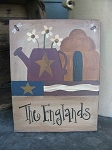 Primitive Personalized Flag Watering Can with Flowers and Bee Hive and Bees Hand Painted Sign