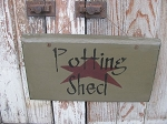 Primitive Spring Summer Potting Shed Sign with Star