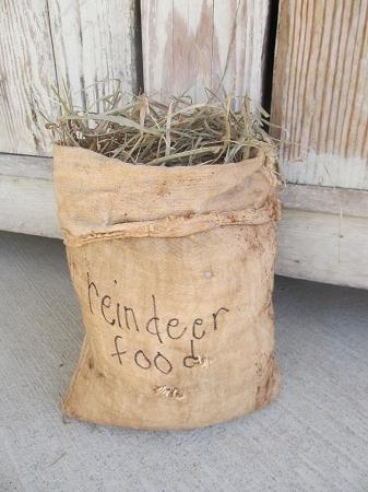 Primitive Country Reindeer Feed Sack