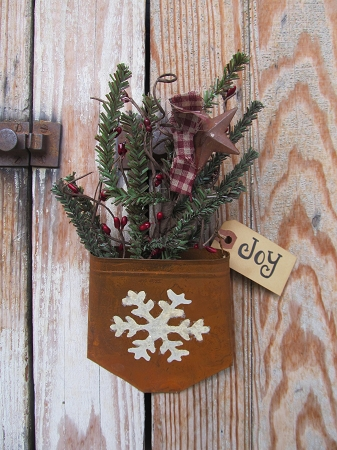 Primitive Winter Snowflake Hand Painted Rusty Tin Hanging Pocket
