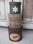 Primitive Snowflake and Snowman Head Stacking Boxes