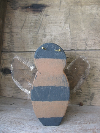 Primitive Hand Made Wooden Bumble Bee With Rusty Screen Wings