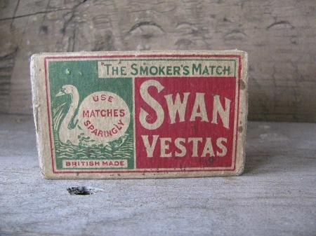 antique primitive and old swan vestas brand match card
