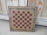 Primitive Americana Patriotic America 1776 Checker Game Board 12 Inch Square